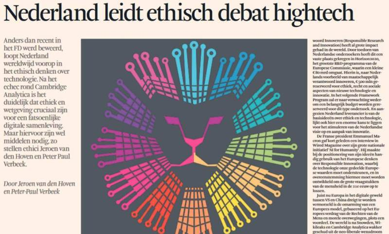 The Netherlands is Leading in Ethics Debate on High Tech – Op-Ed in Newspaper