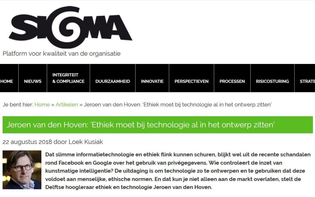 """""""Ethics Should Already Be Integrated in the Design of Technology"""" – Online Interview"""