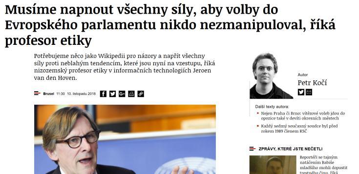 Interview with Jeroen van den Hoven in Czech