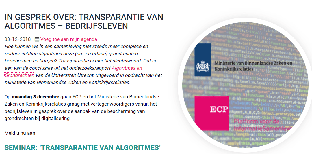 "Speaker on ""Transparancy of Algorithms"""