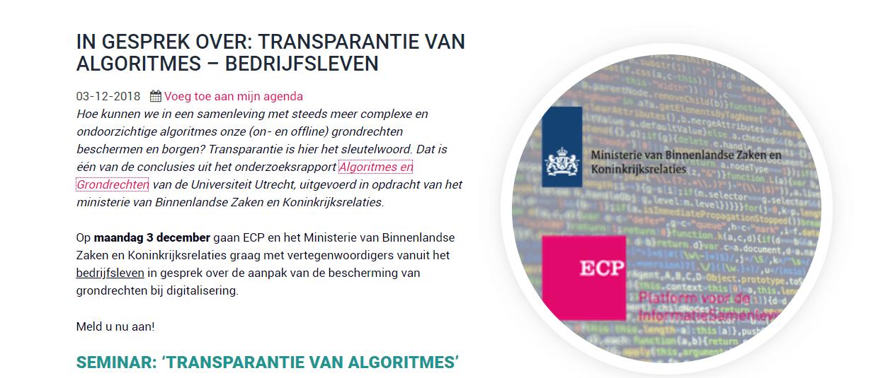 "Speaker on the ""Transparancy of Algorithms"""